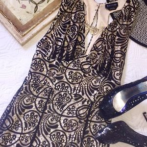 Gorgeous bebe black lace overlay dress